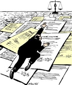 Cartoon Man Climbing on legal documents towards Justice Scale